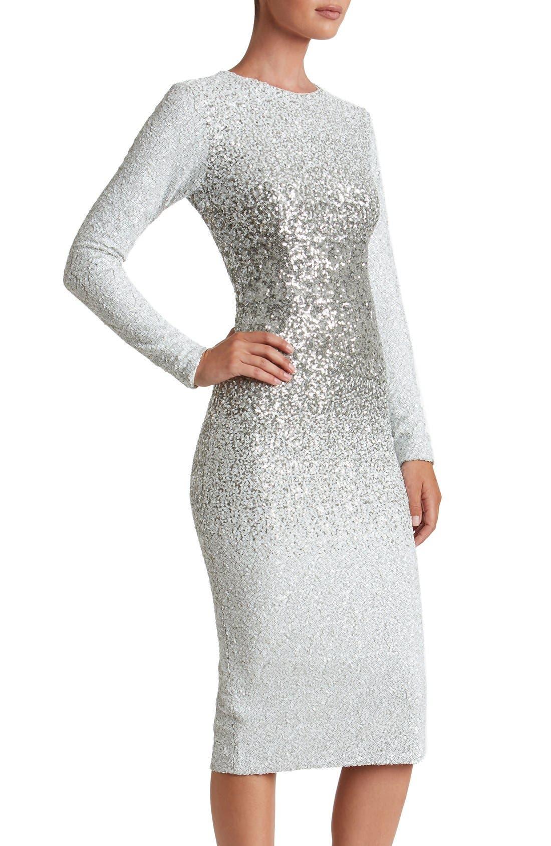 Alternate Image 5  - Dress the Population Brooke Sequin Midi Dress