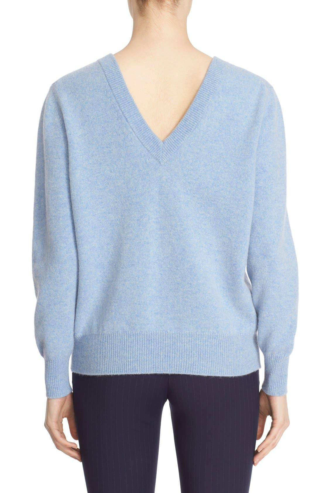 Alternate Image 2  - Victoria Beckham Double V-Neck Felted Lambswool Sweater