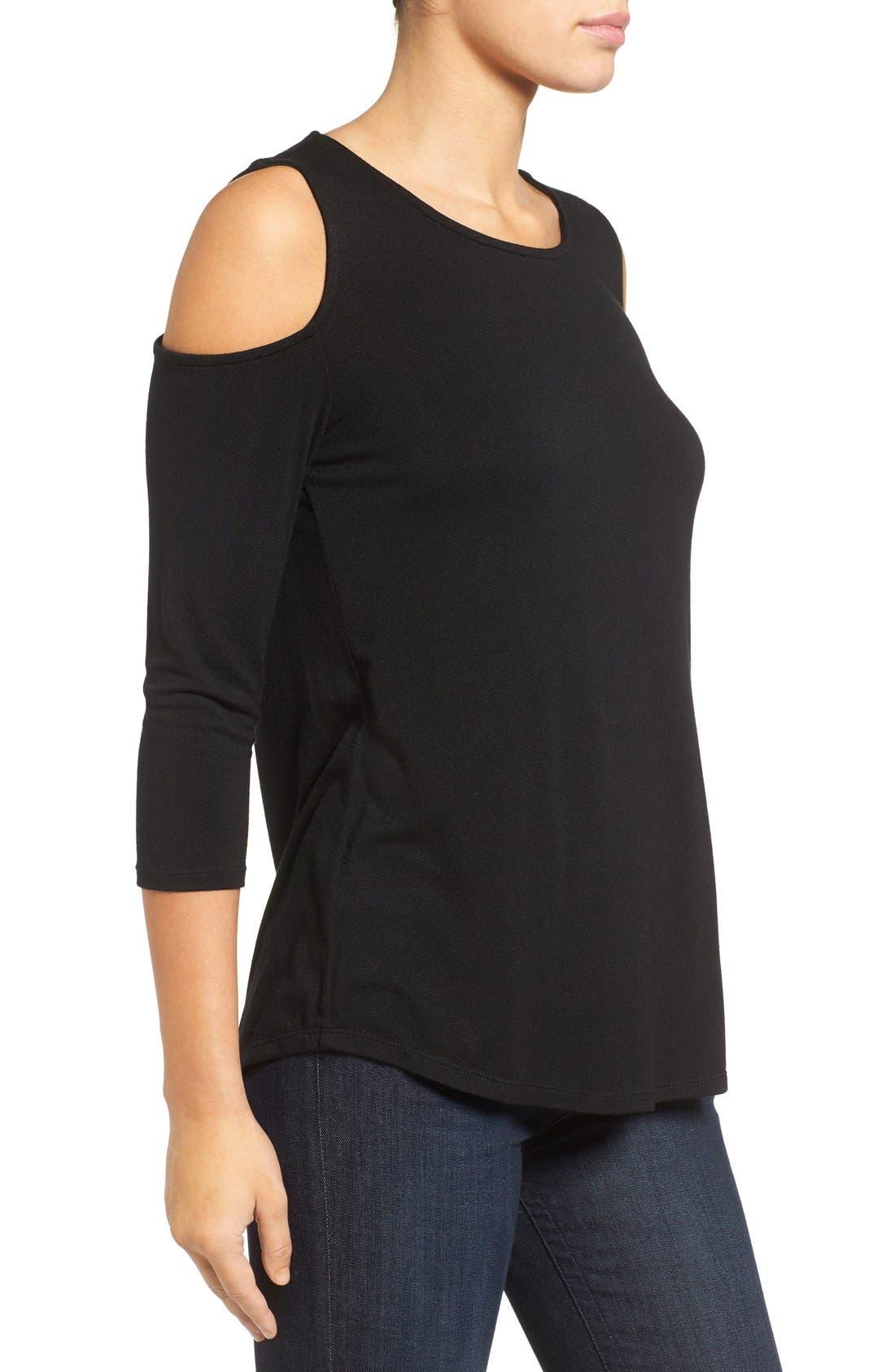 Alternate Image 3  - Halogen® Knit Cold Shoulder Tee (Regular & Petite)