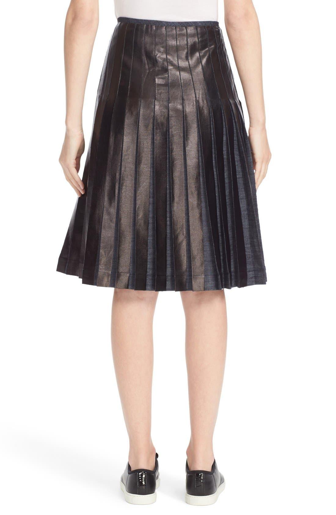 Alternate Image 2  - Tomas Maier Pleated Lacquered Denim Skirt
