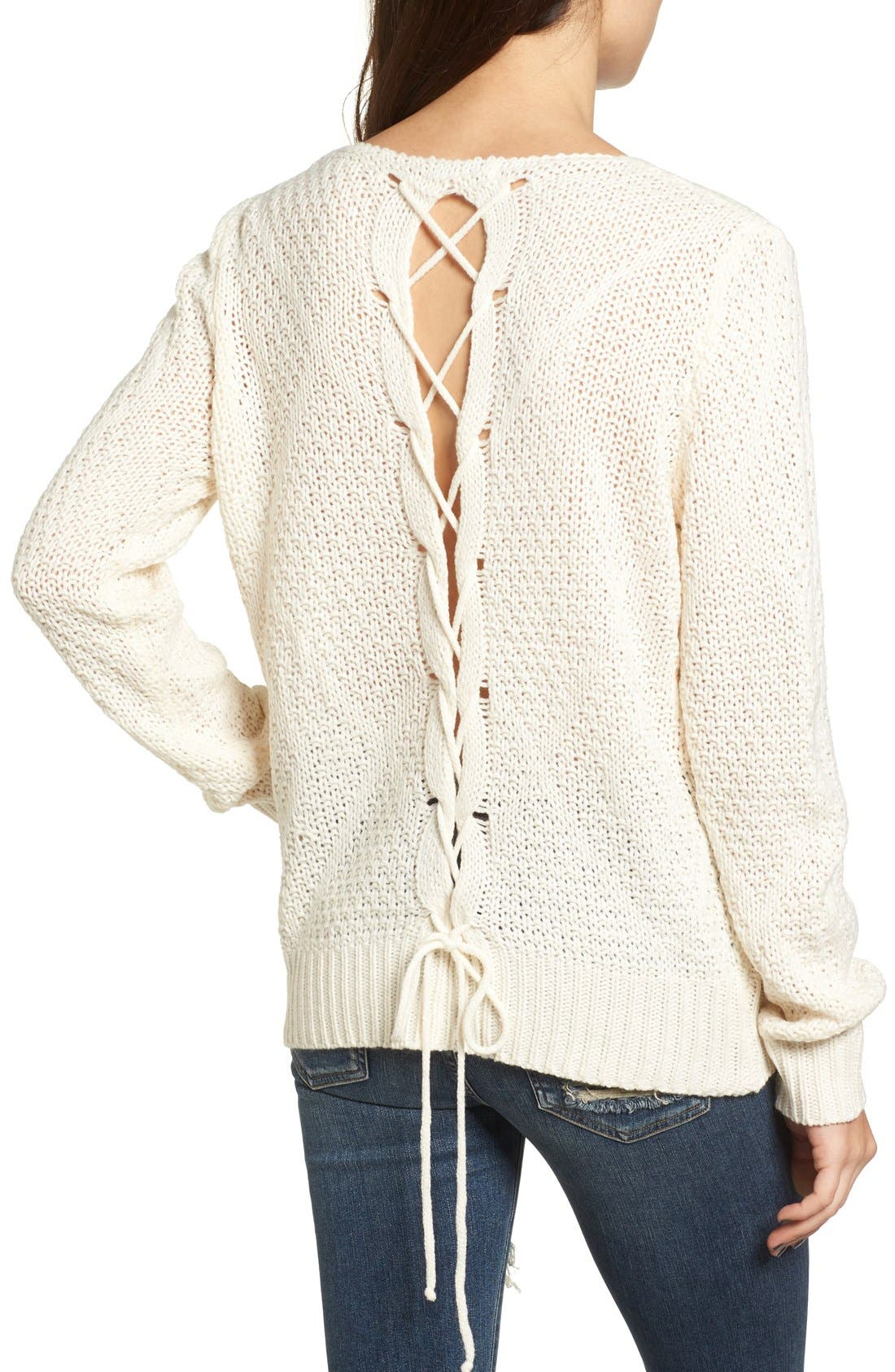 Alternate Image 2  - Woven Heart Lace-Up Knit Pullover