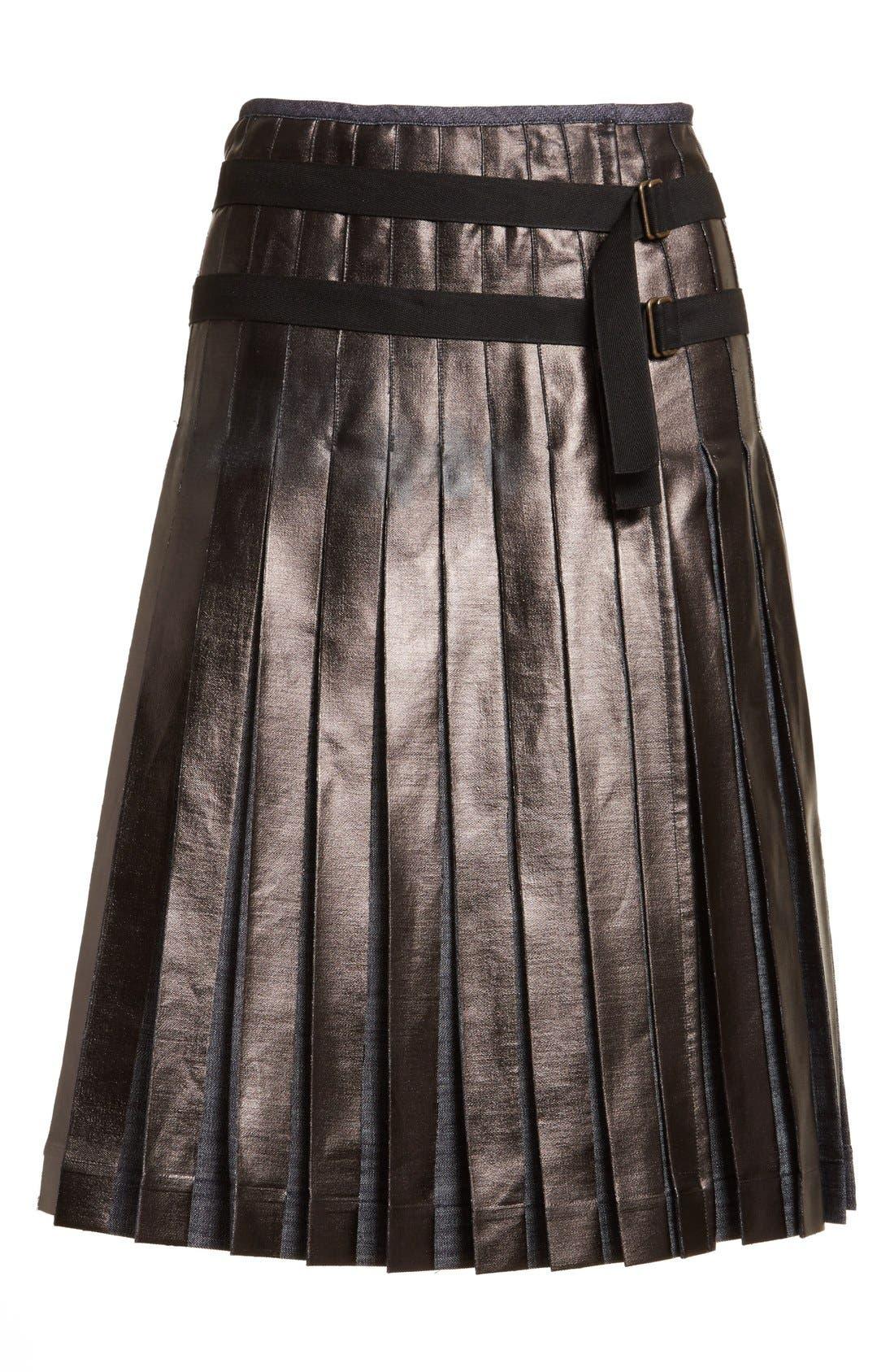 Alternate Image 4  - Tomas Maier Pleated Lacquered Denim Skirt