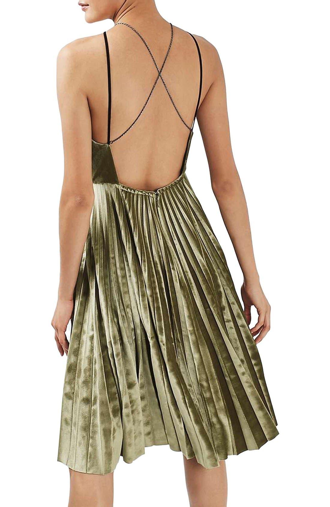 Alternate Image 3  - Topshop Pleated Velvet Fit & Flare Dress