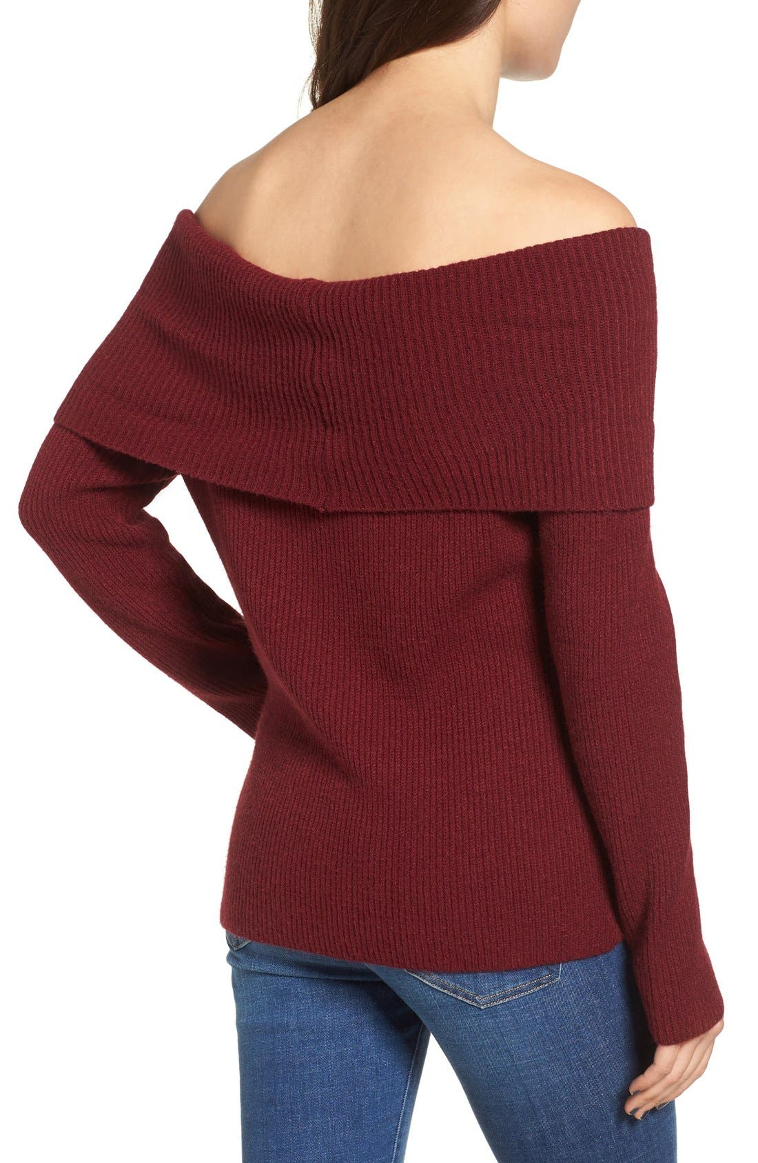 Alternate Image 2  - Love by Design Off the Shoulder Rib Knit Sweater