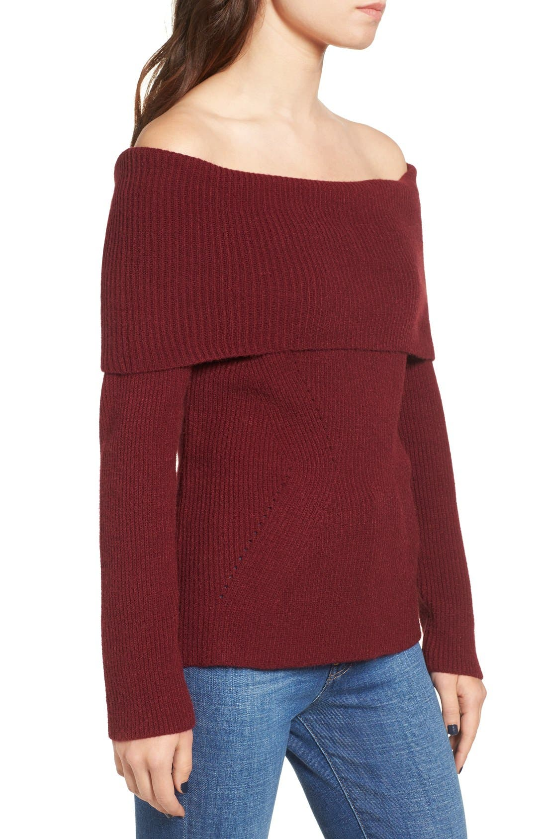 Alternate Image 3  - Love by Design Off the Shoulder Rib Knit Sweater