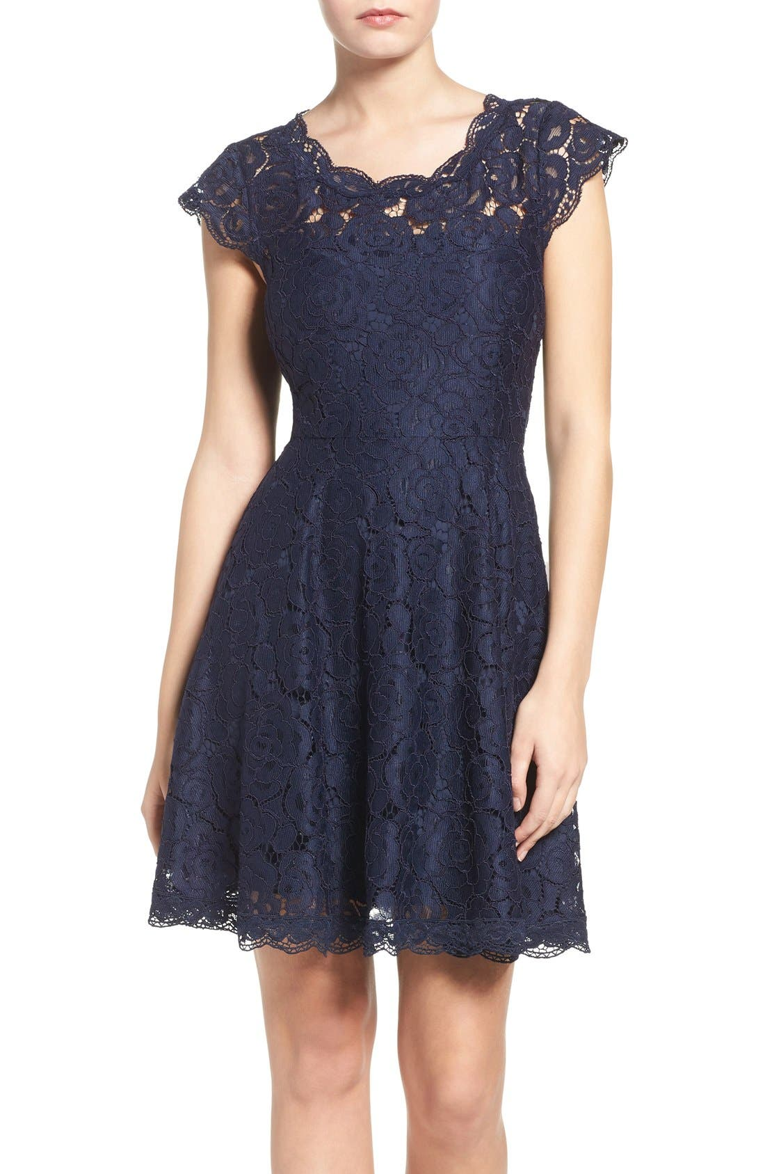 Alternate Image 1 Selected - BB Dakota Lace Fit & Flare Dress