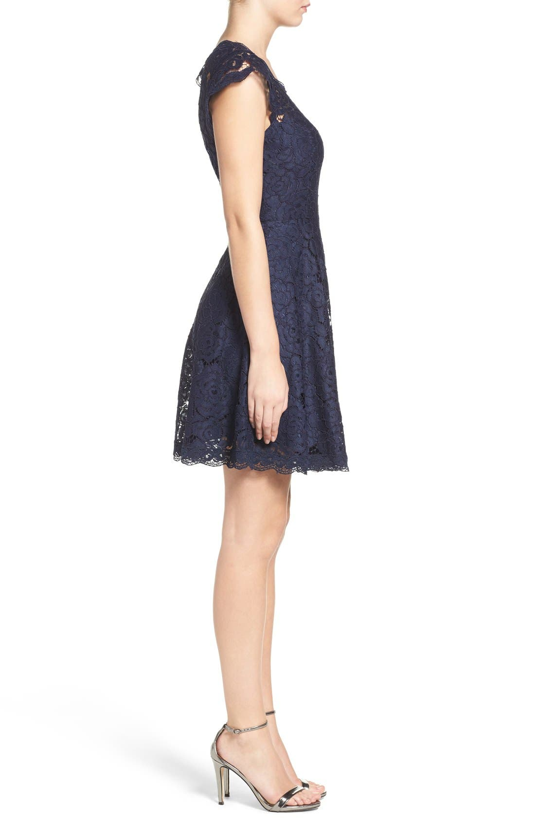 Alternate Image 3  - BB Dakota Lace Fit & Flare Dress