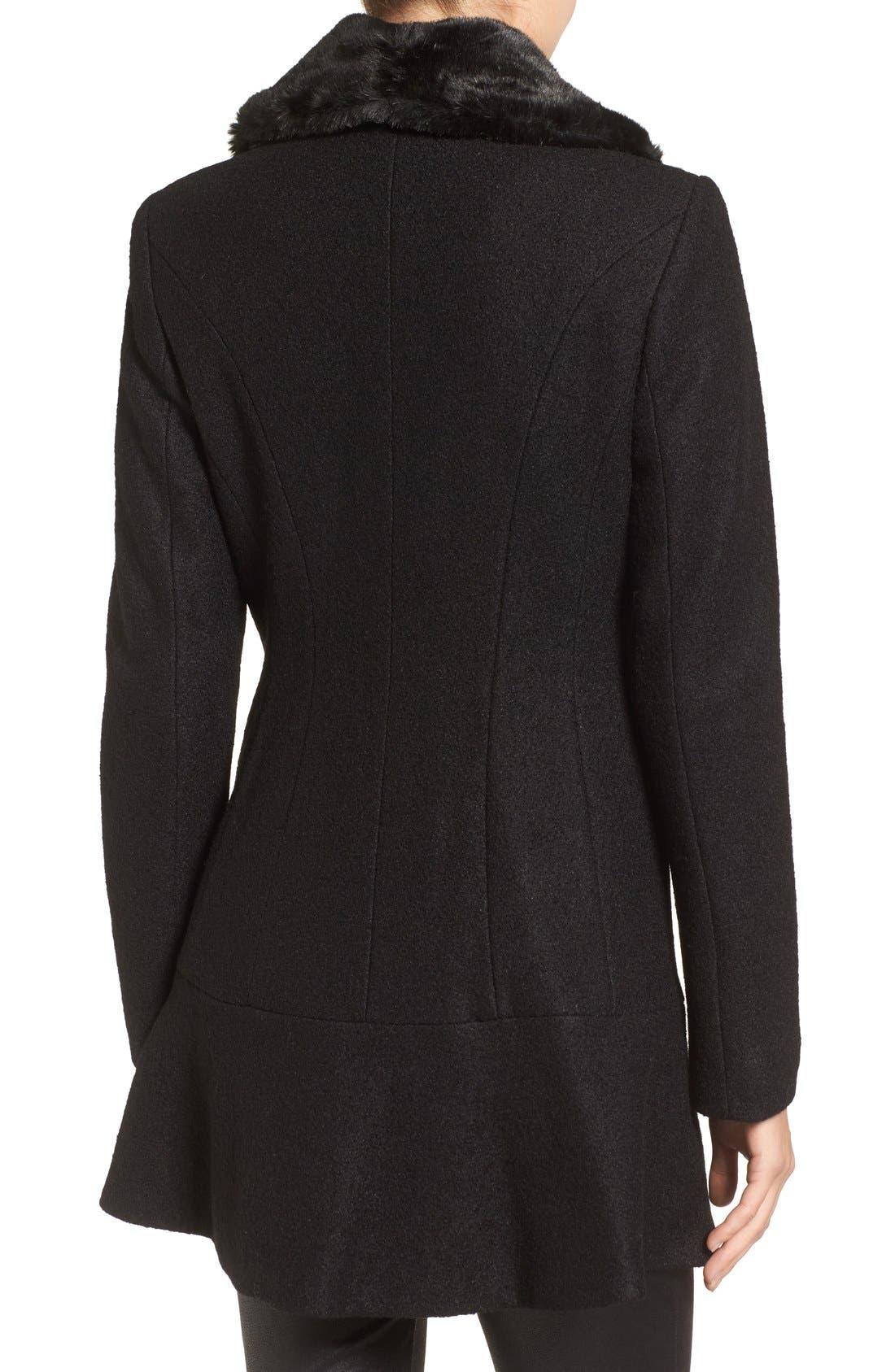 Alternate Image 2  - kensie Removable Faux Fur Collar Skirted Coat
