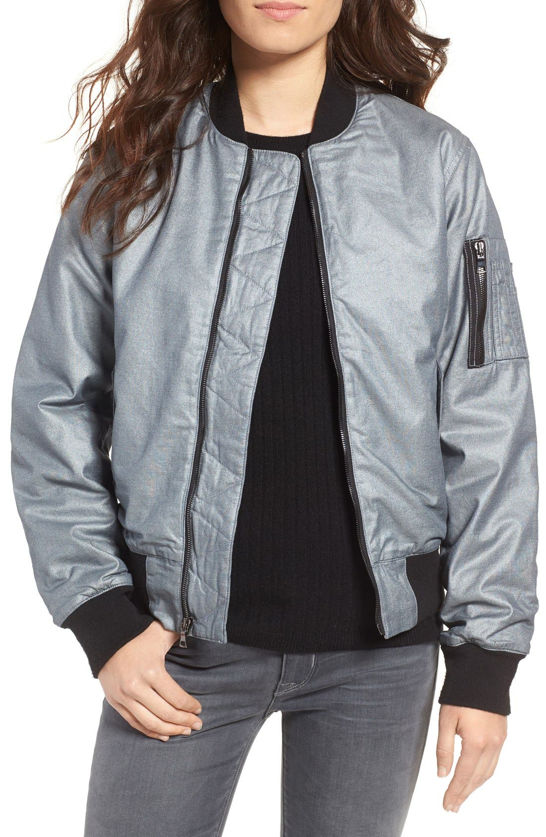 Alternate Image 1 Selected - Hudson Jeans Gene Metallic Bomber Jacket