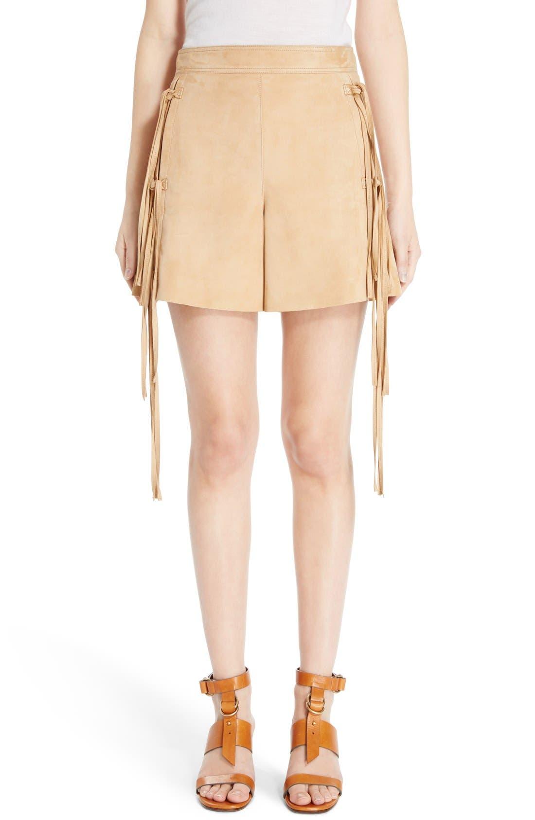 CHLOÉ Fringe Trim Suede Shorts