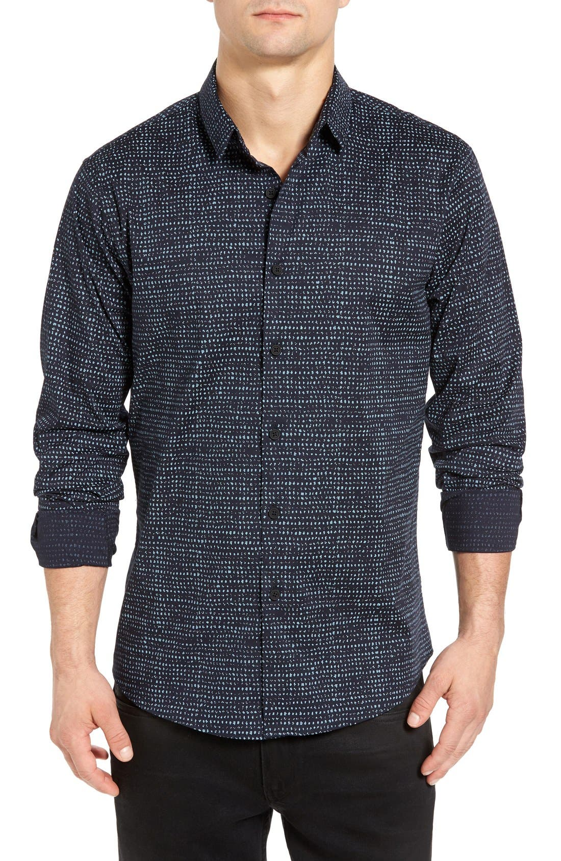 Alternate Image 1 Selected - 7 Diamonds Rear View Slim Fit Woven Shirt