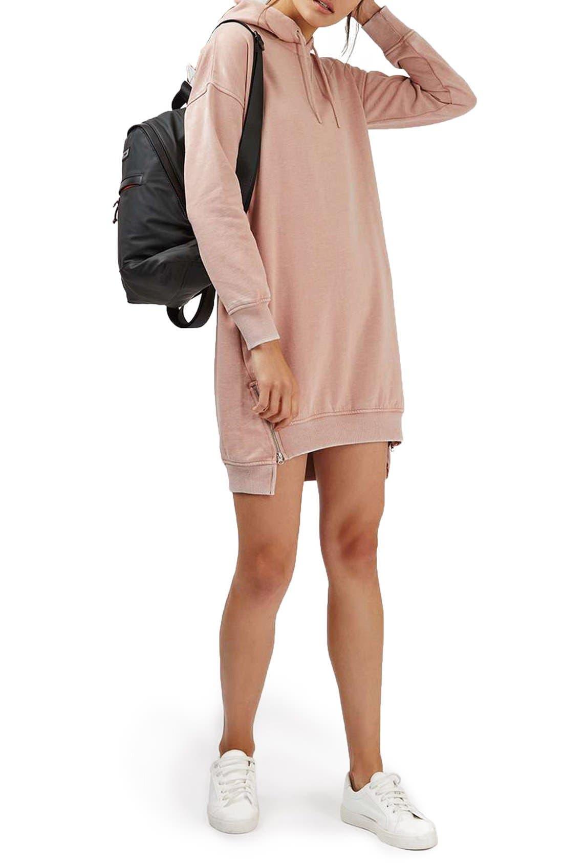 Alternate Image 2  - Topshop Hooded Sweatshirt Dress
