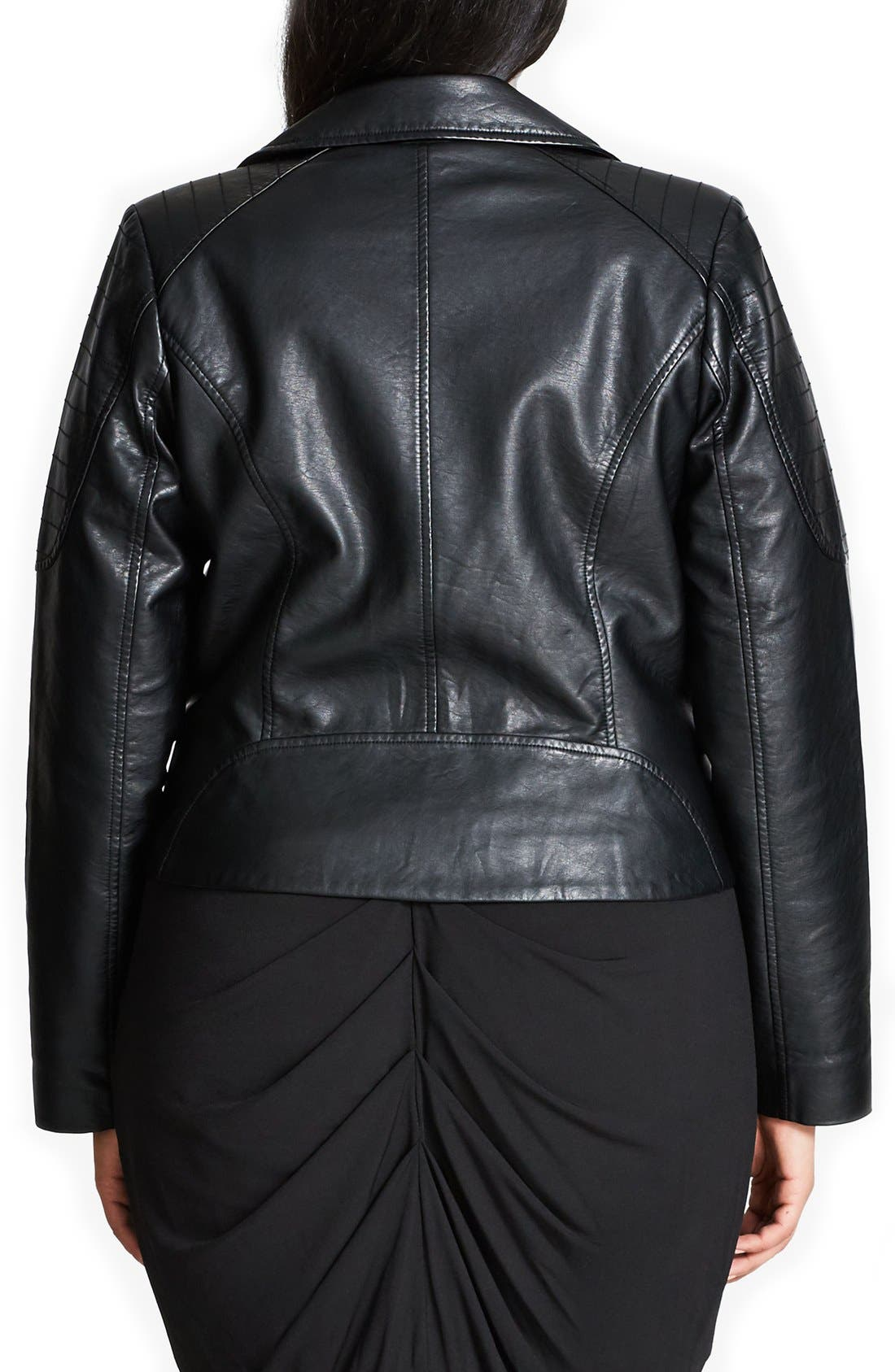 Alternate Image 2  - City Chic Faux Leather Biker Jacket (Plus Size)