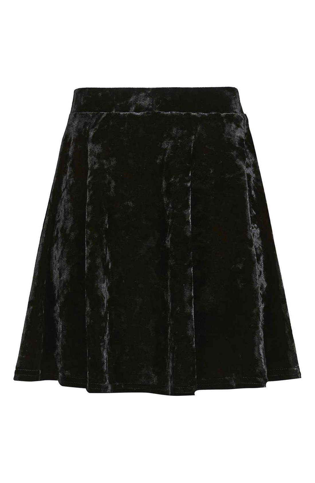 Alternate Image 4  - Topshop Velvet Skater Skirt