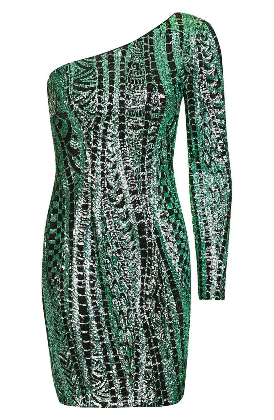 Alternate Image 4  - Topshop One Shoulder Sequin Dress
