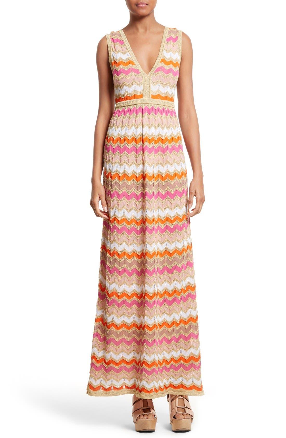 M Missoni Ombré Zigzag Knit Maxi Dress