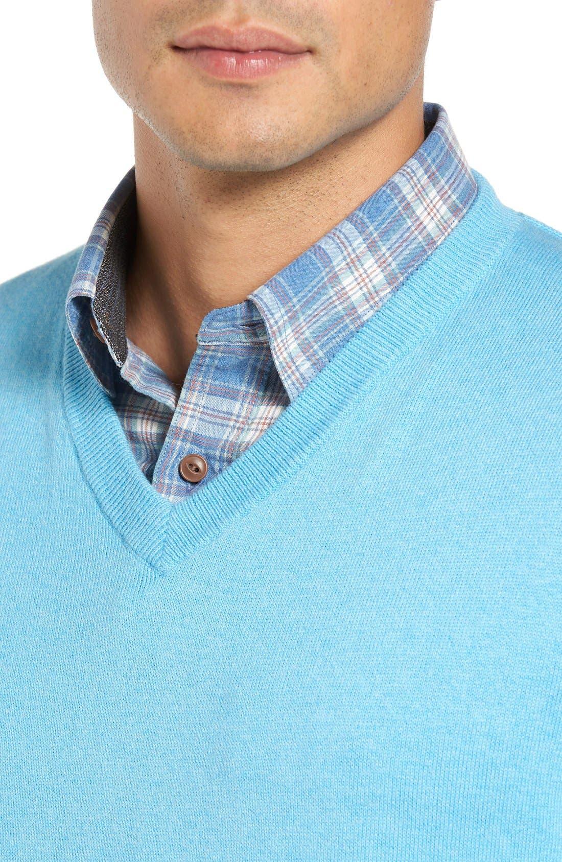 Alternate Image 4  - Nordstrom Men's Shop Cotton & Cashmere V-Neck Sweater (Regular & Tall)