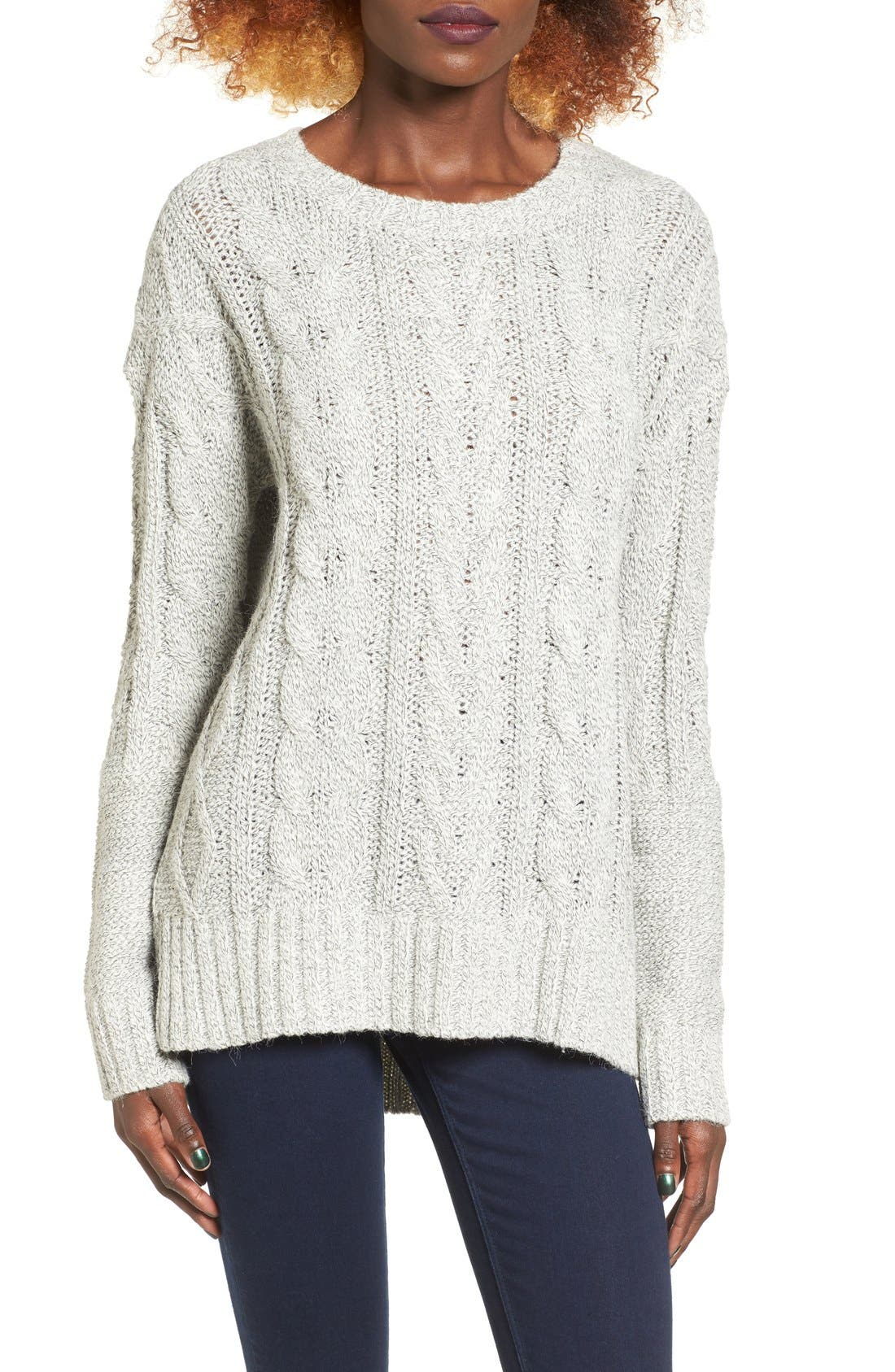 Alternate Image 1 Selected - Love by Design Marled Cable Knit Pullover