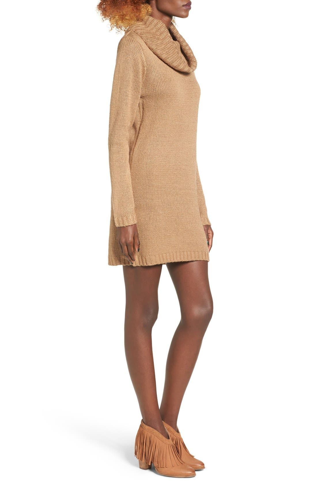 Alternate Image 3  - Cotton Emporium Turtleneck Sweater Dress