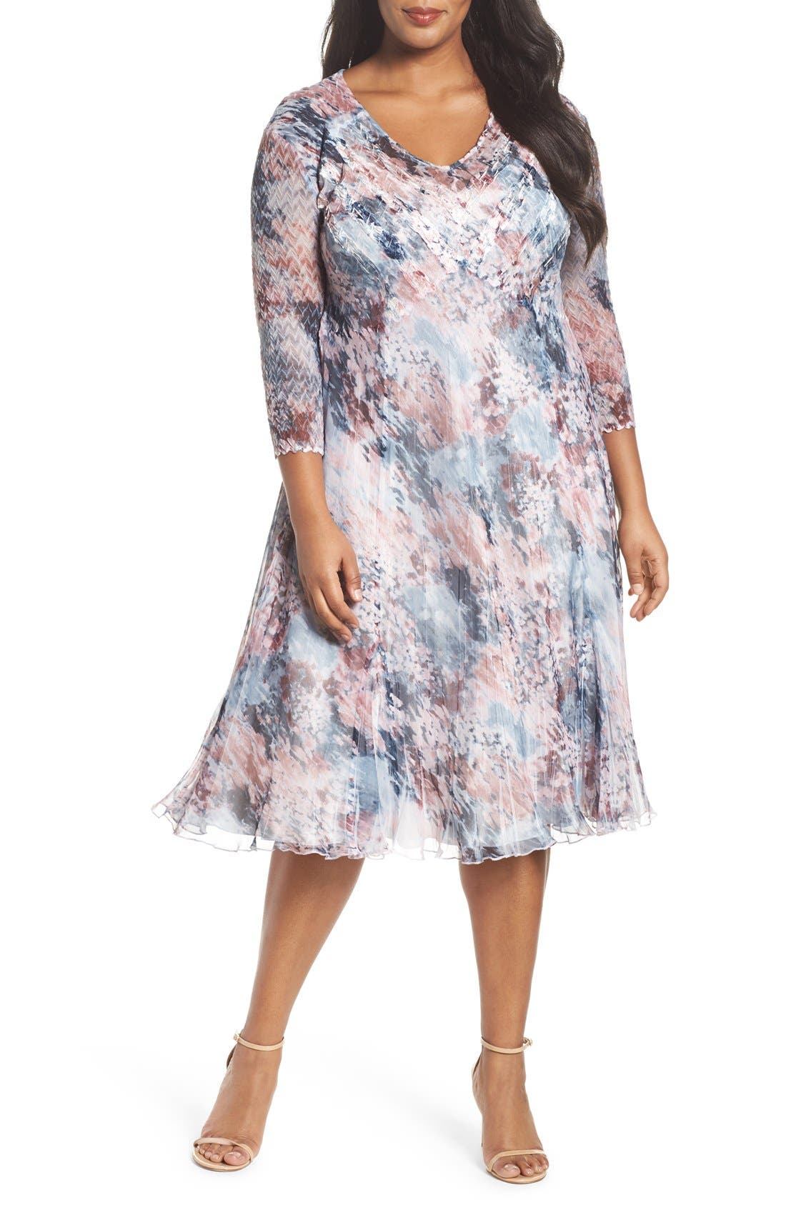 Komarov Mixed Media Midi Dress (Plus Size)