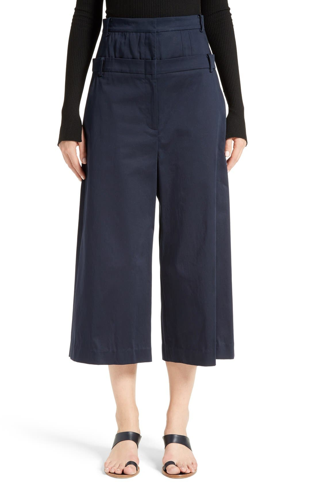 Tibi Mila Satin Double Waist Crop Pants