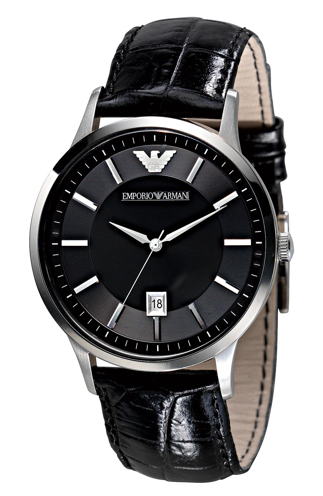 Alternate Image 2  - Emporio Armani Slim Leather Strap Watch, 43mm