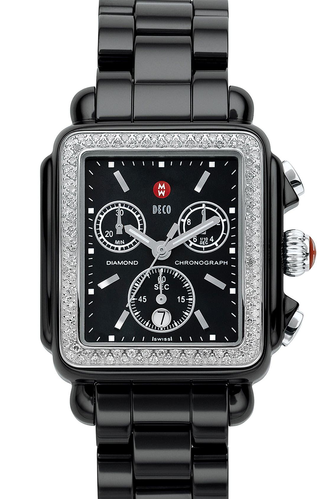 Main Image - MICHELE 'Deco Diamond' Ceramic Bracelet Watch, 33mm x 46mm