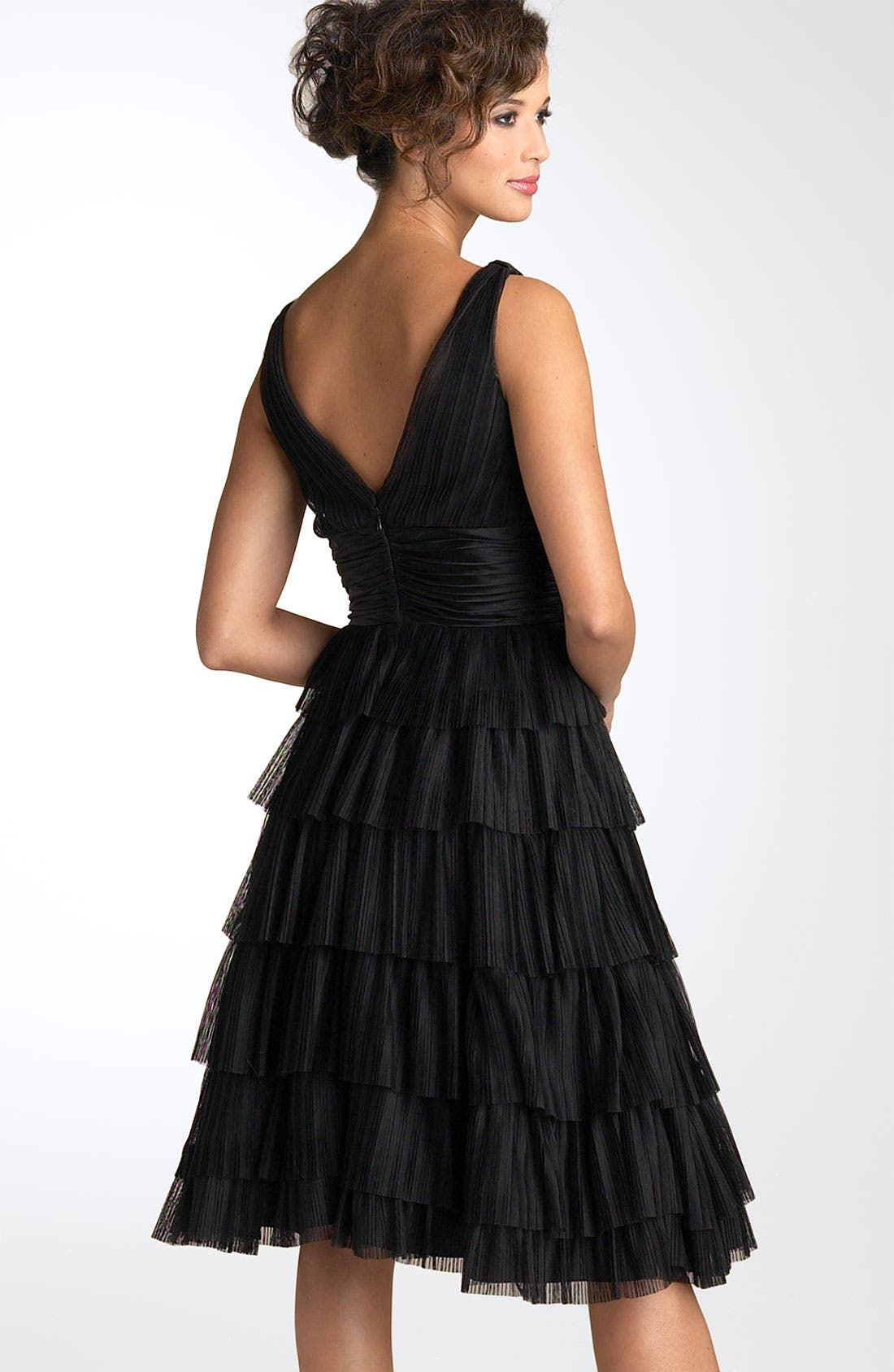 Alternate Image 2  - Maggy London Tiered Mesh Dress with Charmeuse Waist