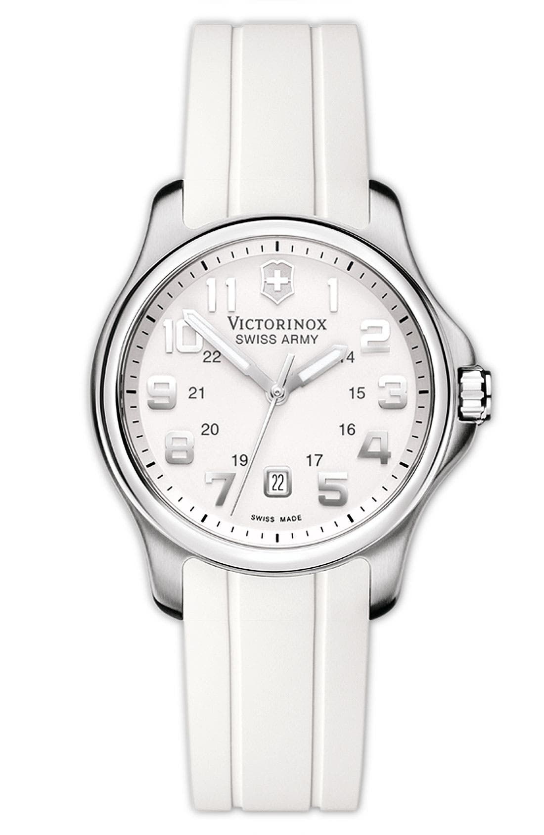 Alternate Image 1 Selected - Victorinox Swiss Army® 'Officers' Small Rubber Strap Watch