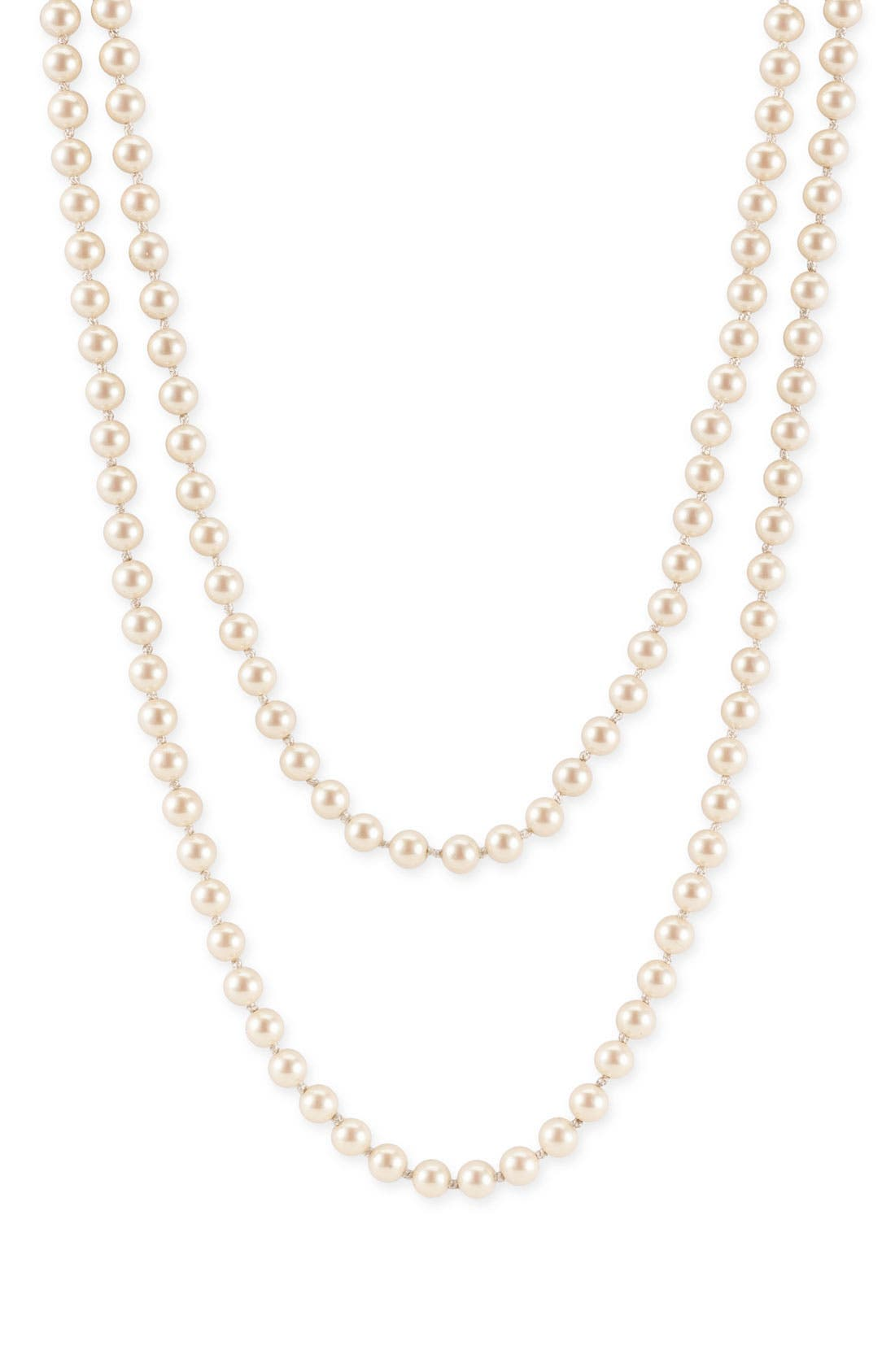Main Image - Nordstrom 6mm Glass Pearl Extra Long Strand Necklace
