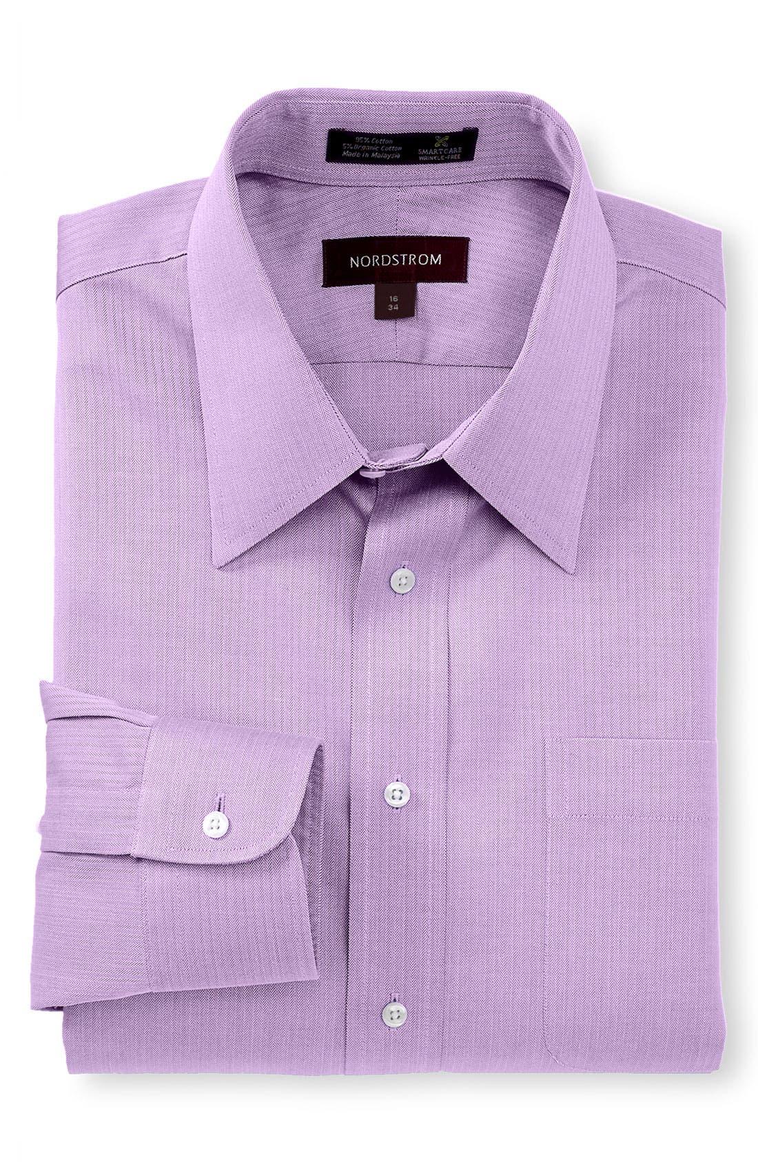 Main Image - Nordstrom Men's Shop Smartcare™ Wrinkle Free Traditional Fit Herringbone Dress Shirt