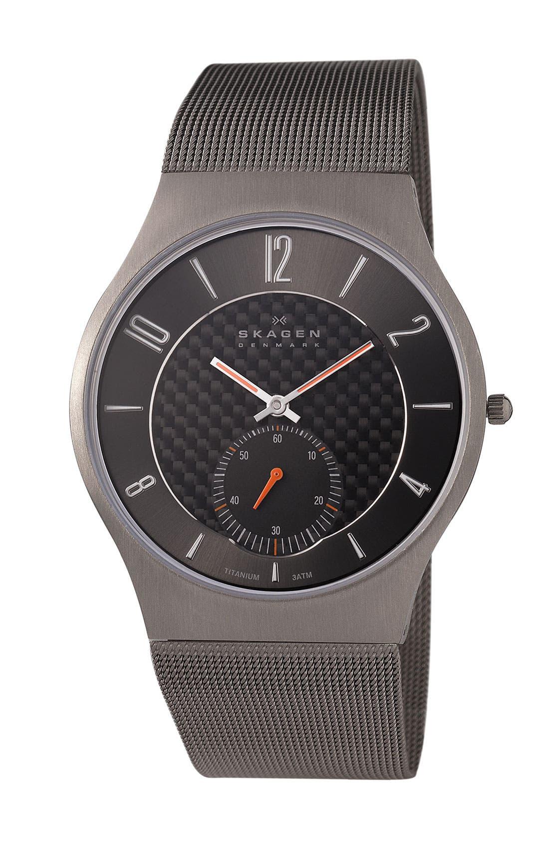 Main Image - Skagen Titanium Mesh Strap Watch