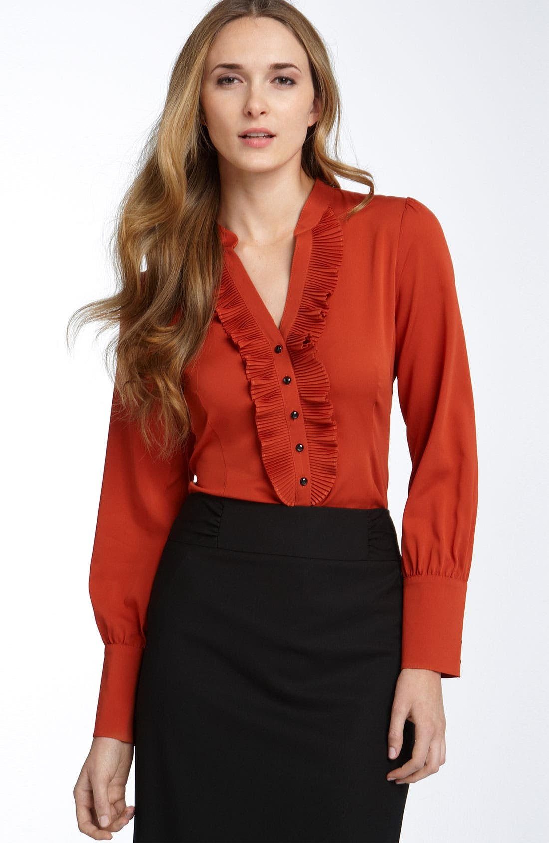 Alternate Image 1 Selected - Classiques Entier® Ruffled Silk Blouse