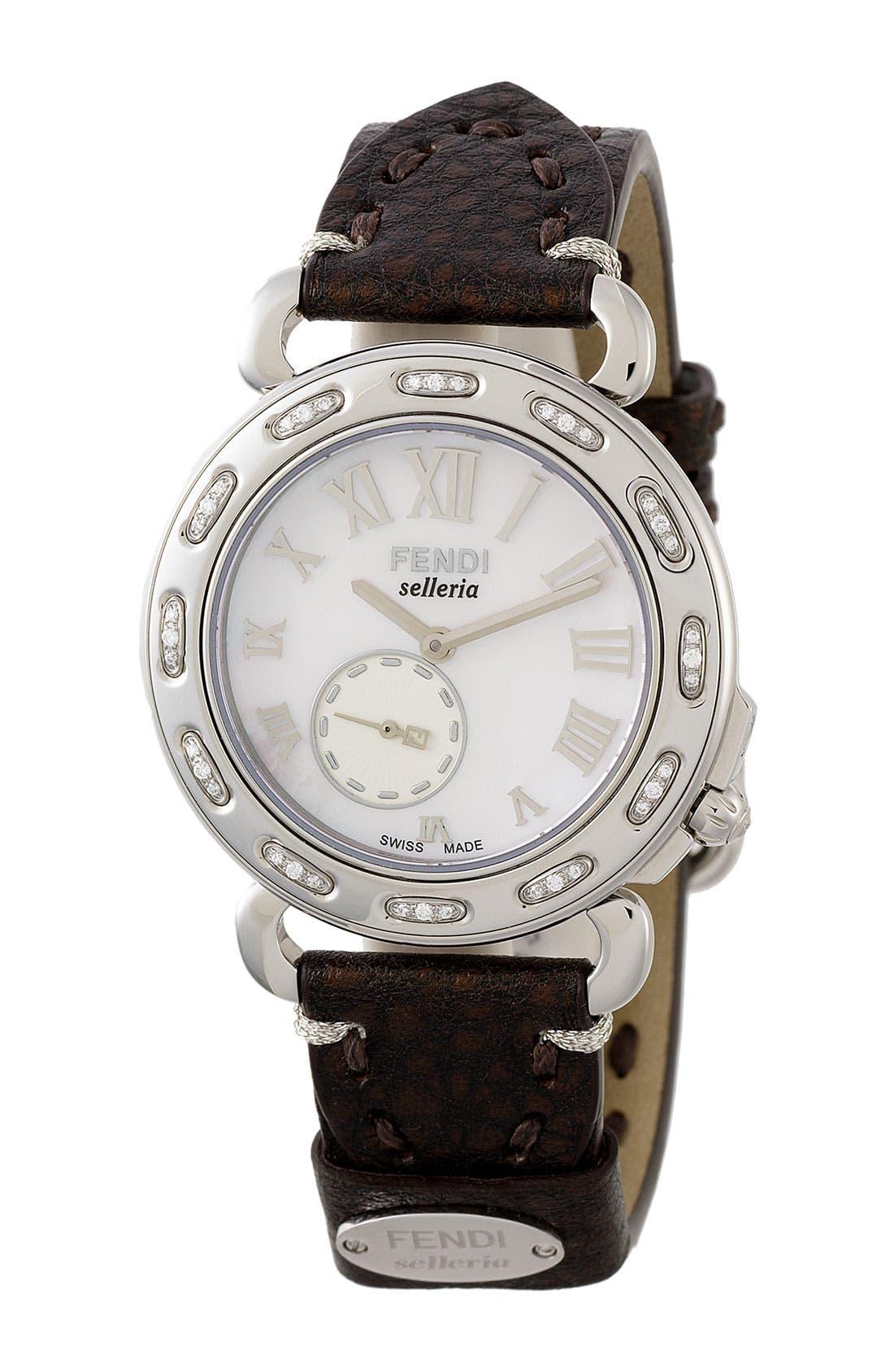 Main Image - Fendi 'Selleria' Diamond Customizable Watch