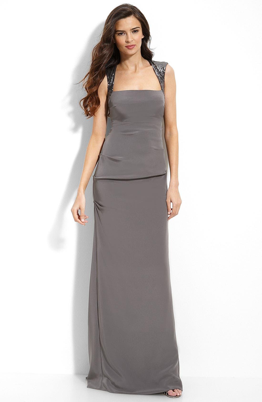 Main Image - Nicole Miller Sequin Trim Stretch Silk Gown