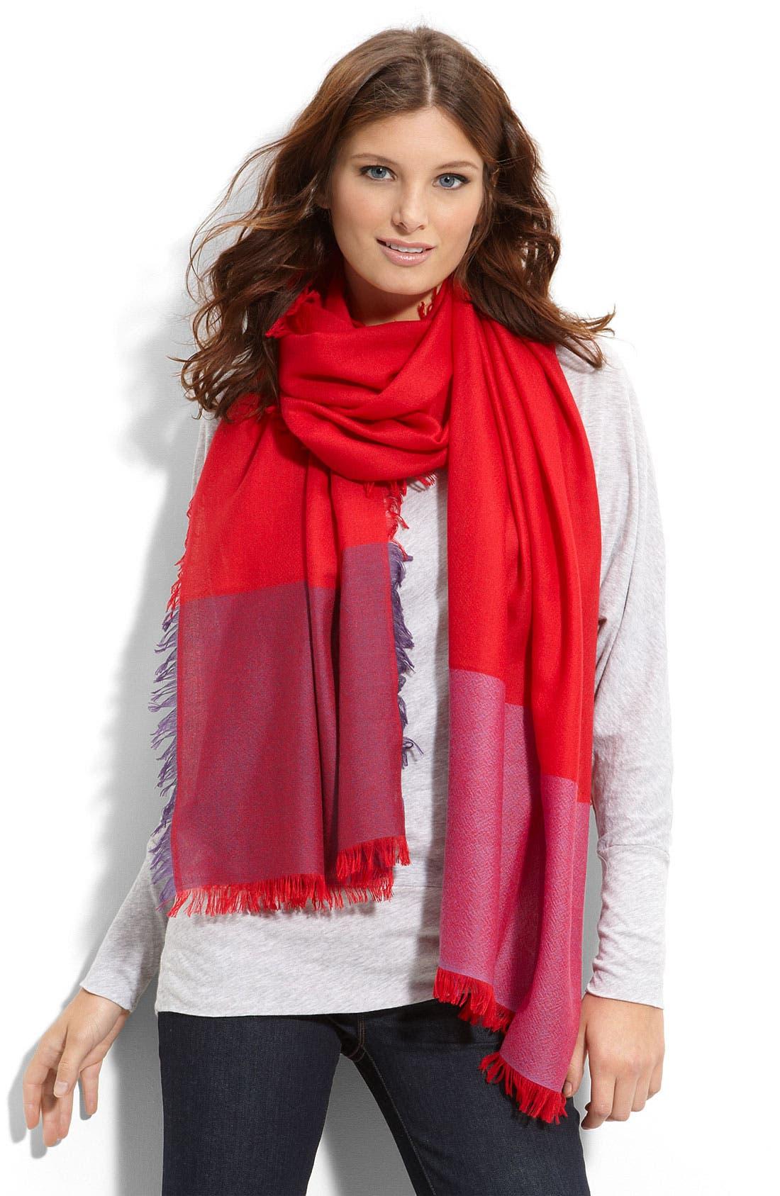 Alternate Image 1 Selected - Nordstrom 'Eyelash' Colorblock Cashmere Wrap