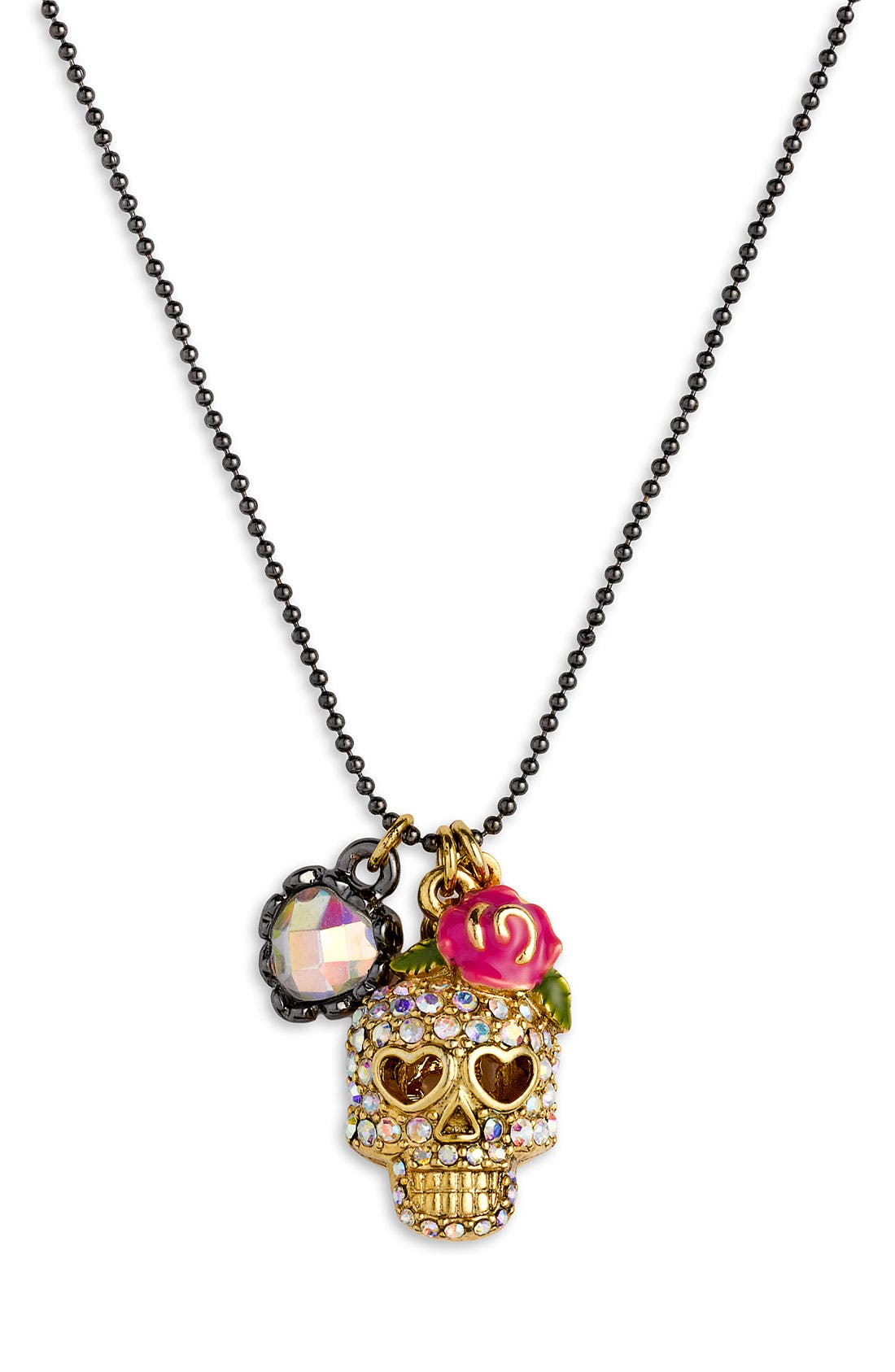 Alternate Image 1 Selected - Betsey Johnson 'Skull Charm' Necklace