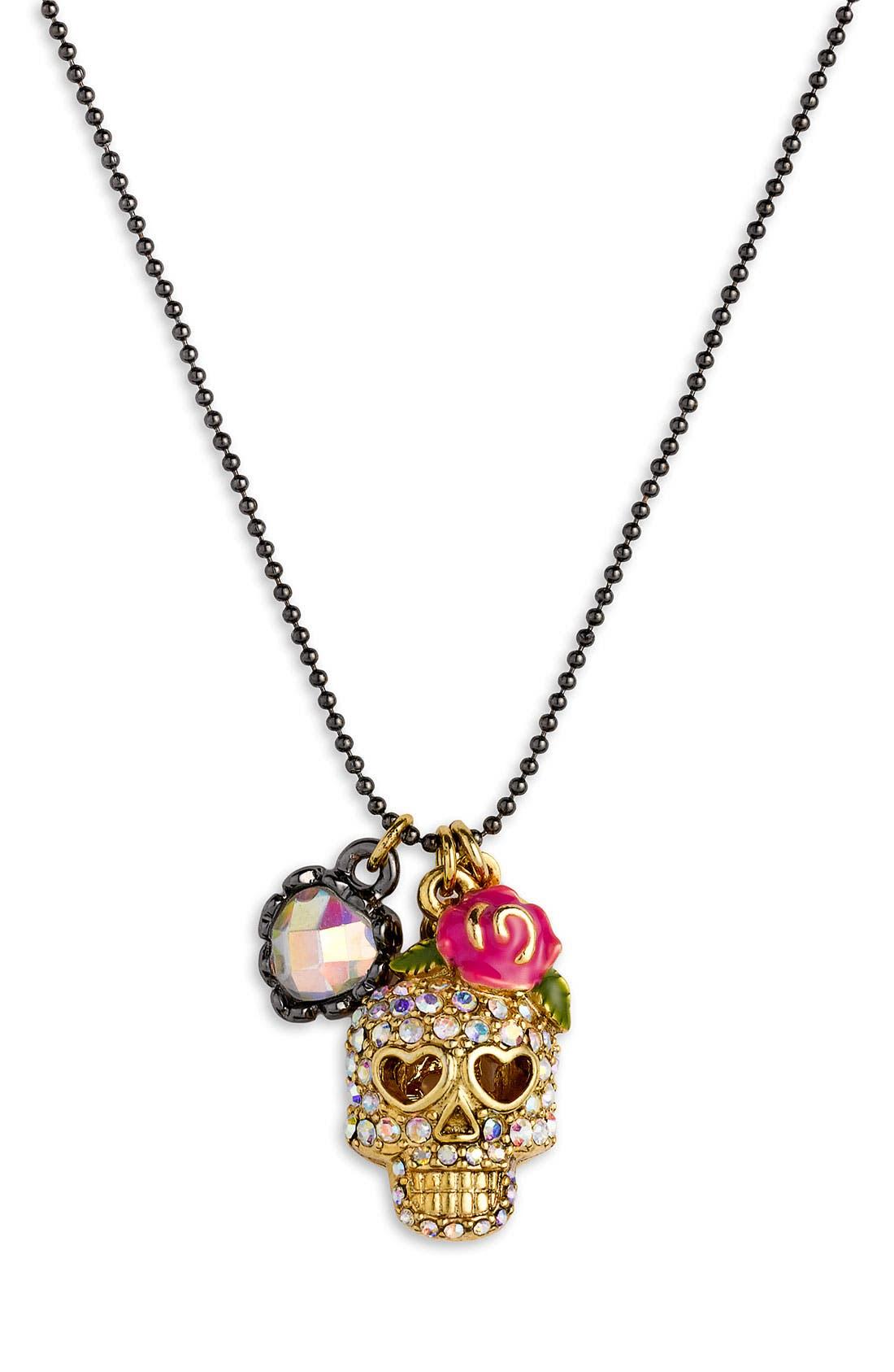 Main Image - Betsey Johnson 'Skull Charm' Necklace