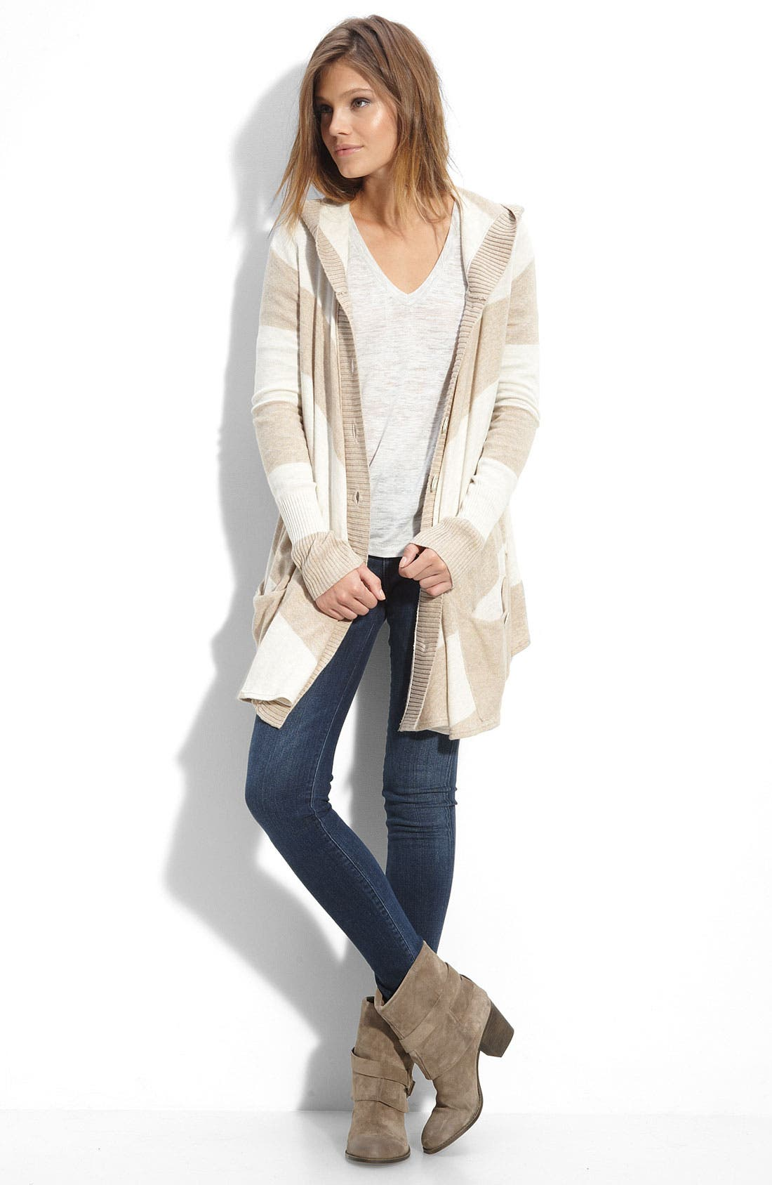 Alternate Image 2  - Free People 'Northshore' Stripe Hooded Cardigan