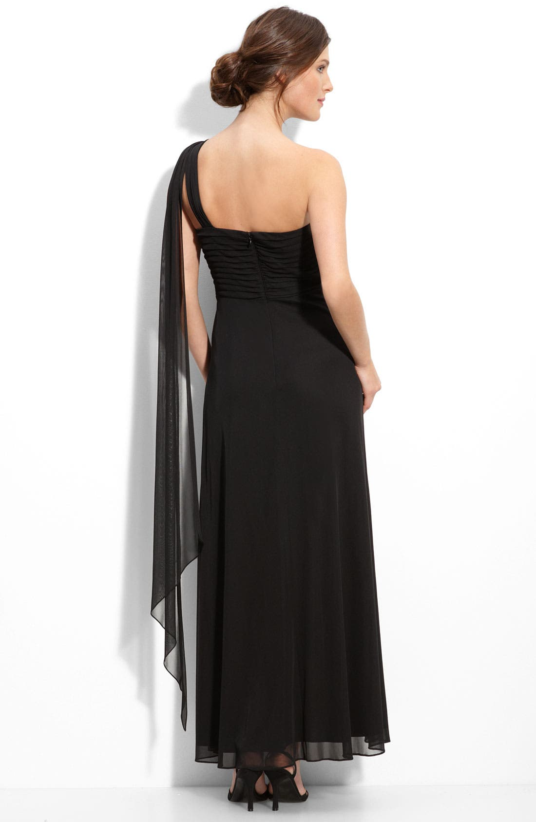 Alternate Image 2  - Alex Evenings One Shoulder Beaded Mesh Gown