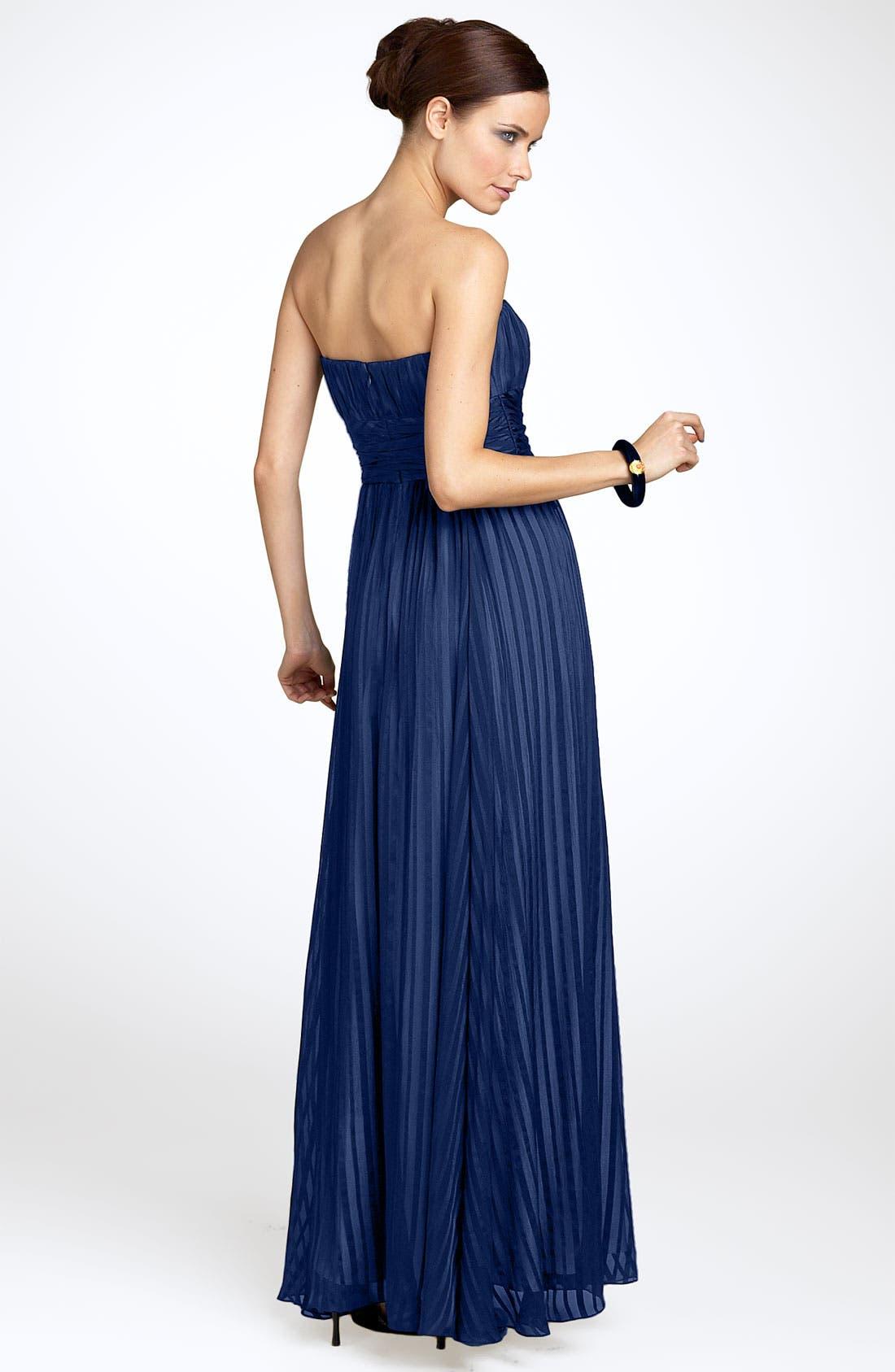 Alternate Image 2  - BCBGMAXAZRIA Strapless Silk Gown