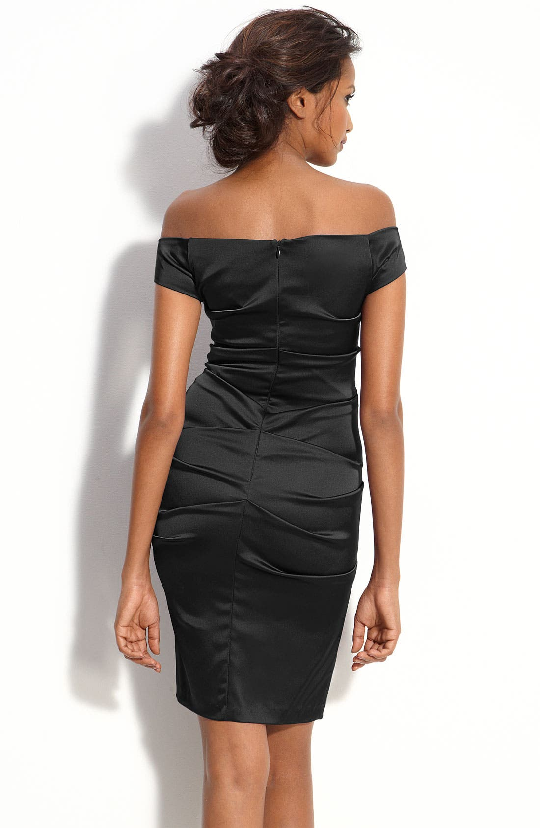 Alternate Image 2  - Betsy & Adam Off Shoulder Stretch Satin Sheath Dress