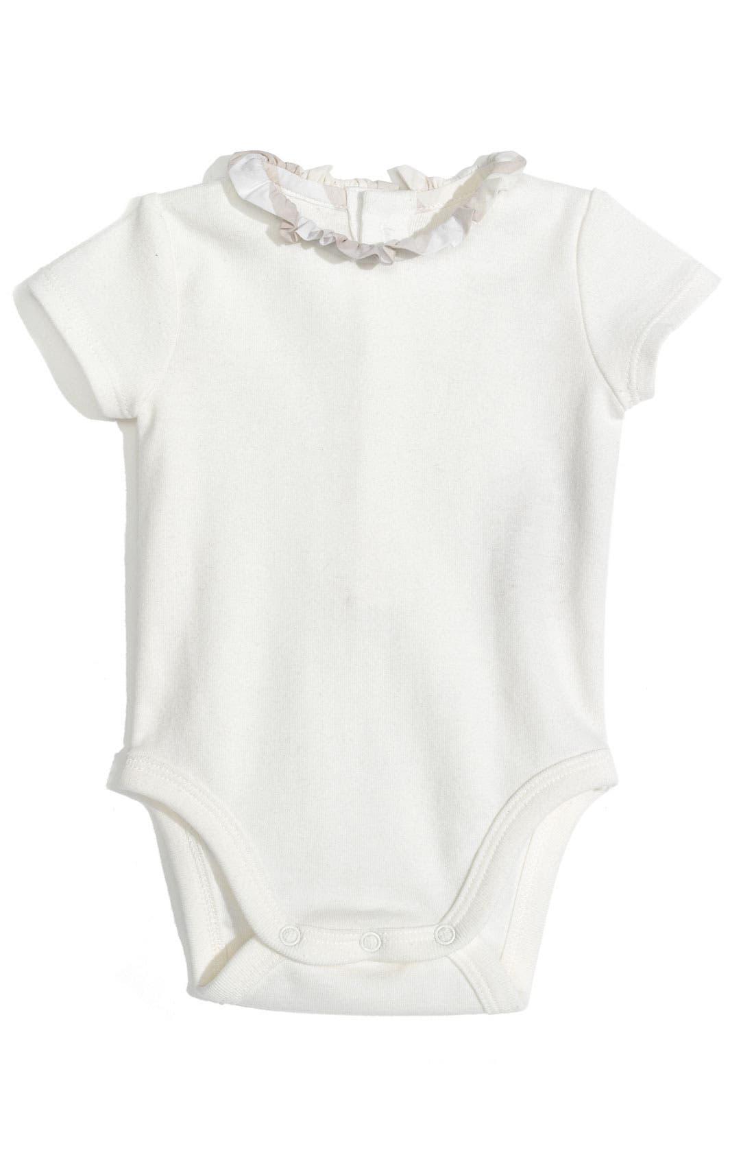 Alternate Image 1 Selected - Burberry 'Audrey' Ruffle Collar Bodysuit (Infant)