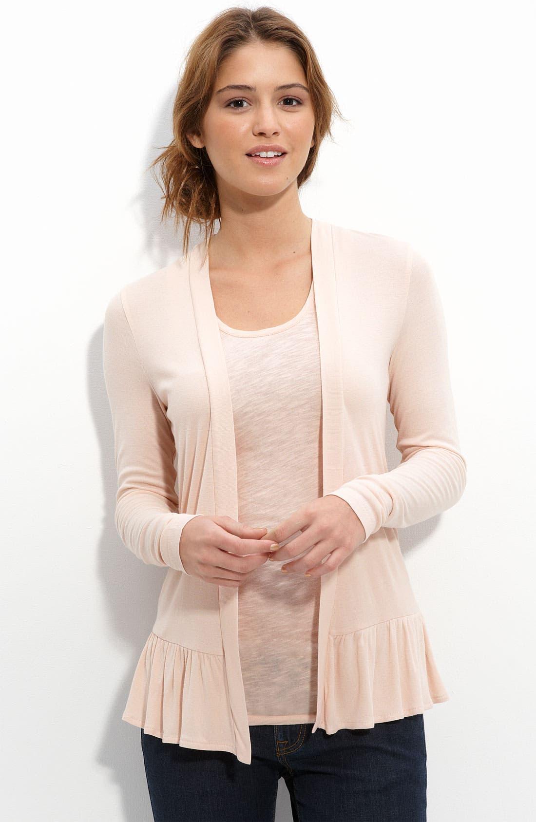 Alternate Image 2  - Frenchi® Lace Back Cardigan (Juniors)
