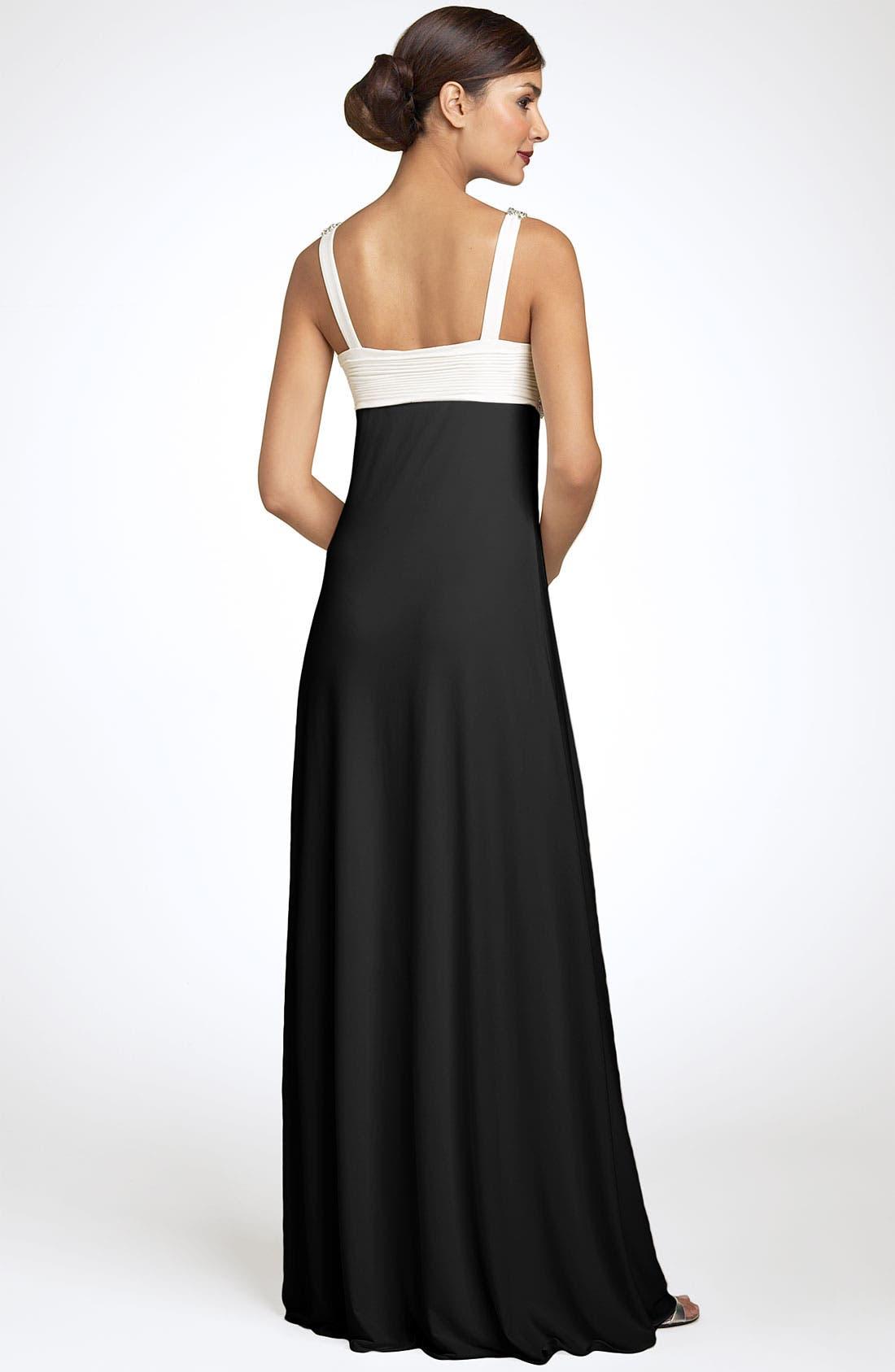 Alternate Image 2  - JS Boutique Pearl Trim Crisscross Matte Jersey Gown