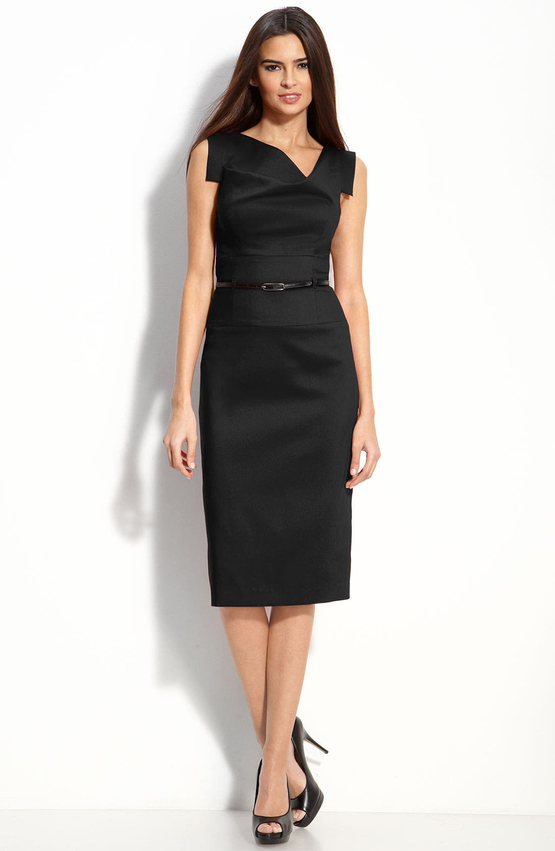 Main Image - Black Halo 'Jackie' Belted Gabardine Sheath Dress