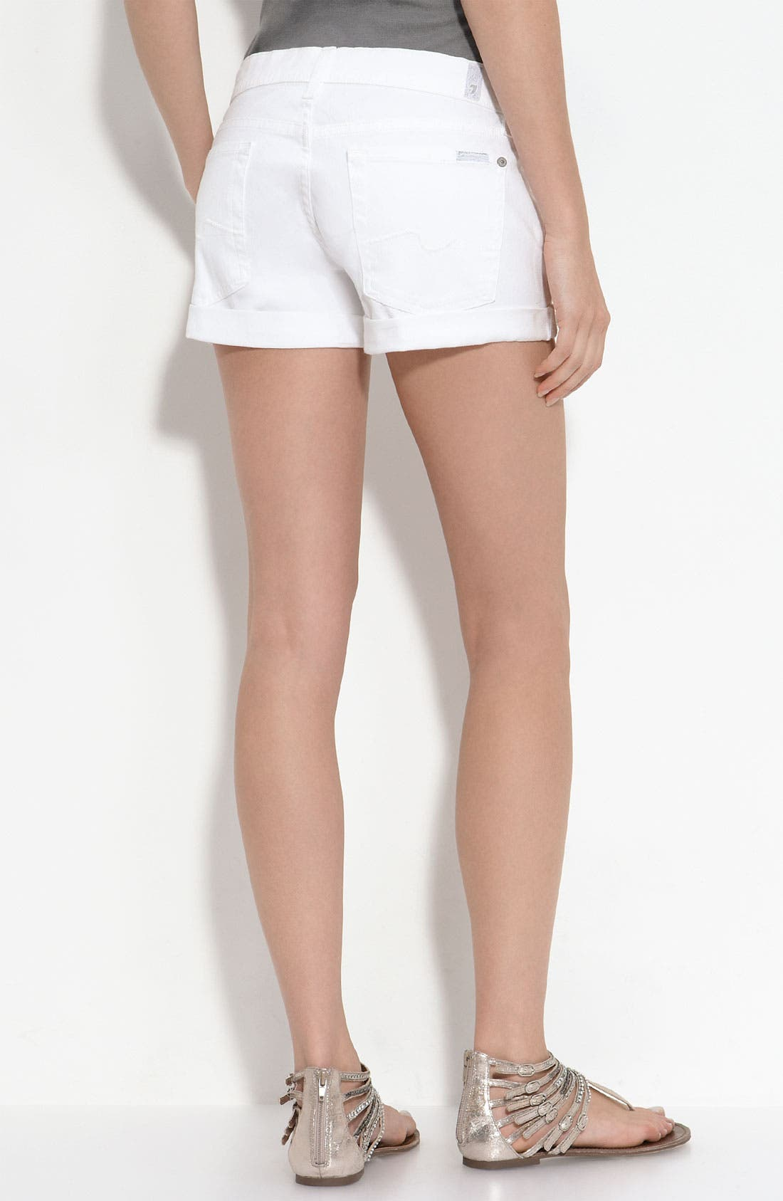 Main Image - 7 For All Mankind® Rolled Cuff Shorts (Clean White Wash)