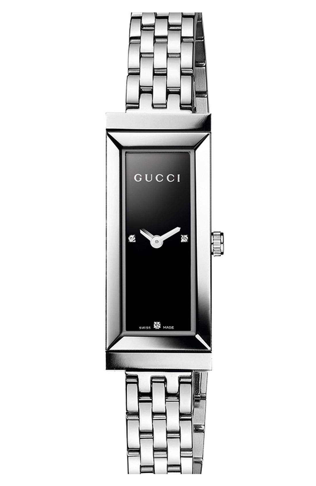 Alternate Image 1 Selected - Gucci 'G-Frame' Small Rectangle Bracelet Watch, 15mm x 35mm