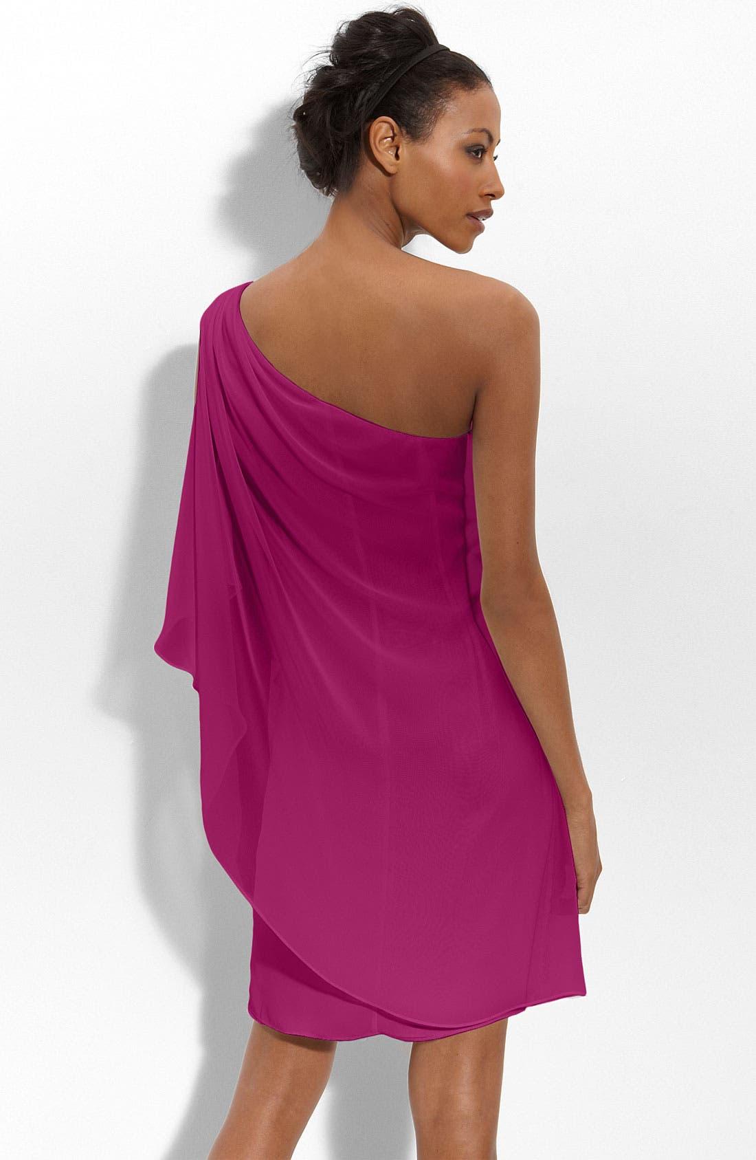 Alternate Image 2  - JS Boutique Embellished One-Shoulder Chiffon Dress
