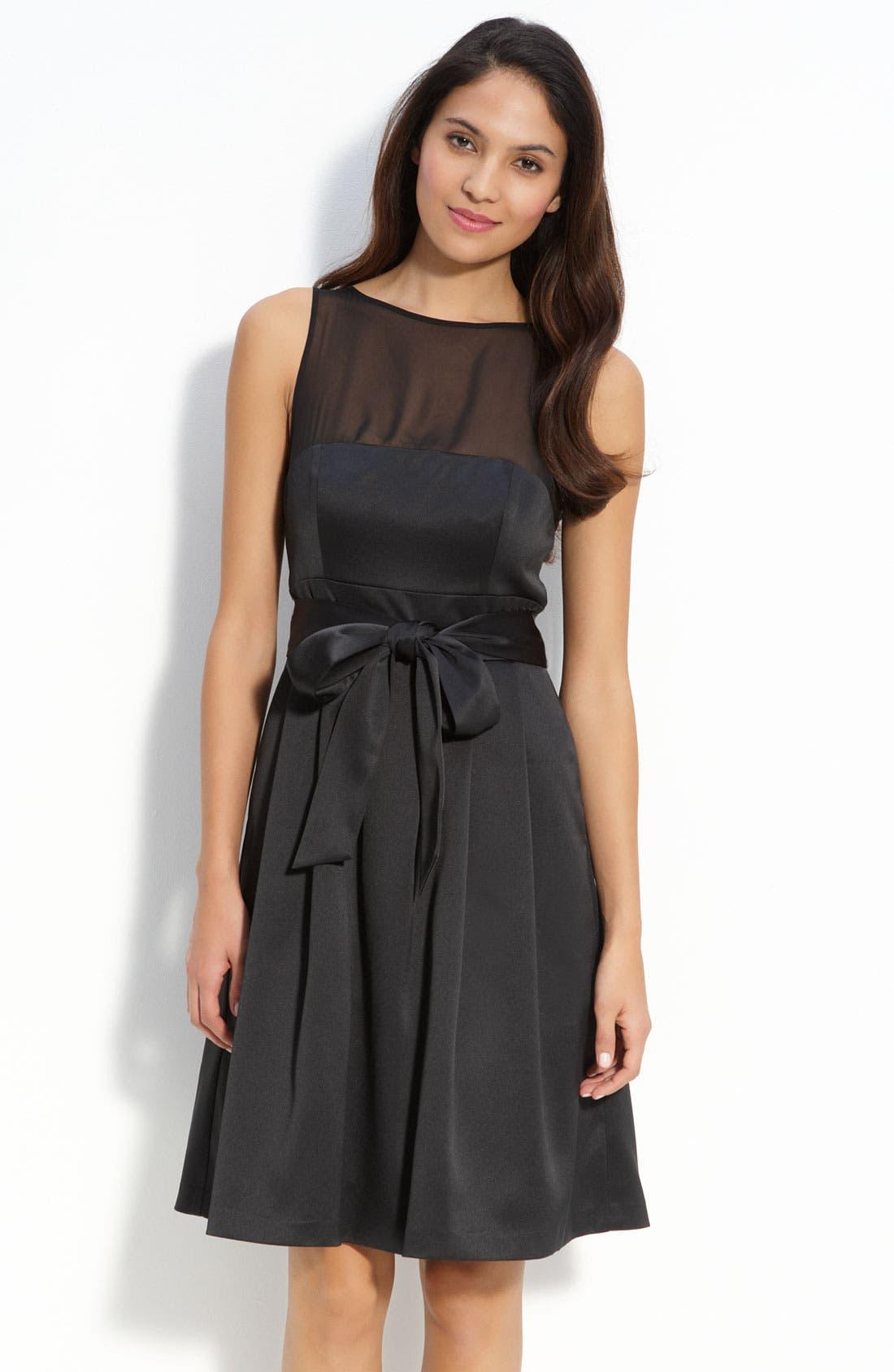 Main Image - JS Collections Illusion Bodice Satin Dress